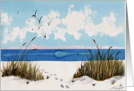 Footprints on the beach Christmas card and Loss of Loved One card
