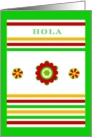 Hola! Mexican Floral and Stripe Design card
