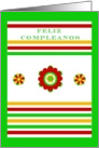 Feliz Cumpleanos, Mexican Floral and Stripes. blank inside card
