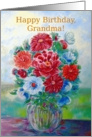 Grandma, Happy Birthday, Still Life with Flowers and Vase card