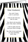Happy Birthday to My Husband, Things We Have In Common Humor card