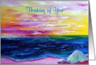 Thinking of You, Pink Beach at Sunrise, blank inside card