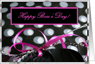 Happy Boss's Day! Black White & Pink Polka Dot Gift card