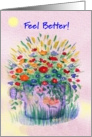 Under the Weather ,Feel Better, Sprinkler Can of Flowers card