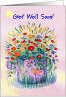 Female Pet, Get Well, Sprinkler Can of Flowers card