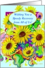 From All of Us, Speedy Recovery! Humor, Happy Sunflowers card
