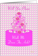 Walk Me Down the Aisle, Wedding Party Invitation, Floral Cake card