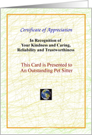 Pet Sitter, Thank You, Certificate of Appreciation card