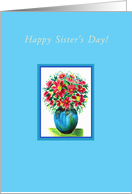 Happy Sister's Day!, Red Flowers in a Blue Vase card