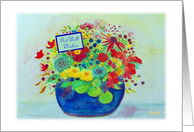 Get Well Wishes, Depression, Blue Pot Full of Flowers card