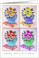 Happy 44th Birthday Day!, Window Flowers, Original Watercolor card