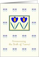 Annoucing the Birth of Twin Girls, Two Tulips, Graphic Design card