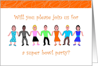 Invitation, Super Bowl Party with Colorful People card