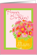 Happy Birthday, Mum!, Pink Poseys in Frame card