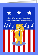 Happy Birthday, Patriotic Cat Singing The Star Spangled Banner card
