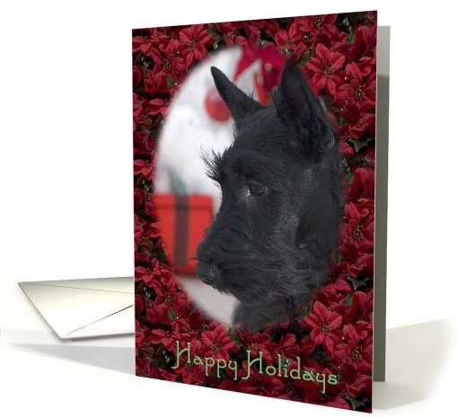 Happy Holidays - featuring Scottish Terrier Puppy card (723179)