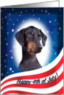 July 4th Card - featuring a Doberman Pinscher (with natural ears) card