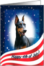 July 4th Card - featuring a Doberman Pinscher (with cropped ears) card