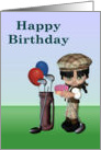 Happy Birthday, young girl golf theme card