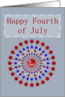 Happy Fourth of July Red white and blue with stars card