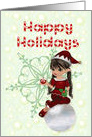 Happy Holidays, Little Girl Elf,Candy Cane Script,Snow card