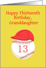 Baseball Softball 13th Birthday Granddaughter, Red and Gold card