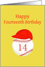 Fourteenth Birthday, Baseball or Softball, Red and Gold card