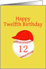 Twelfth Birthday, with Softball Baseball Red Cap, Gold Background card