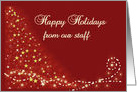 Happy Holidays from Staff, Stars and Lights on Burgundy Red card