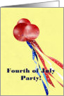 Happy Fourth of July Party Invitation, red white and blue card
