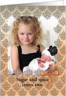 Peach lace, two little girls sugar and spice photo card