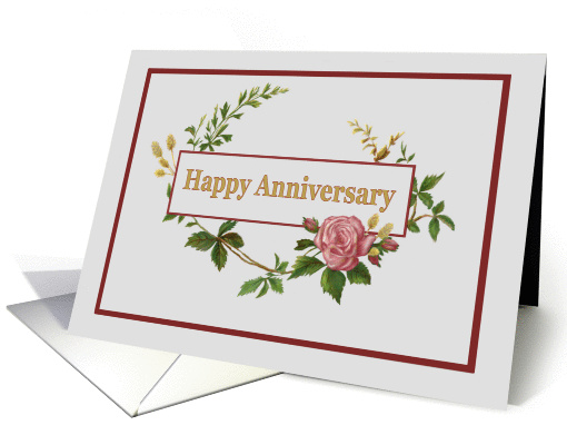 Happy Anniversary, with Vintage Pink Rose card (1376138)