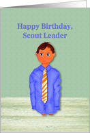 Happy Birthday Scout Leader. Boy Dressed in Adult Shirt and Tie card