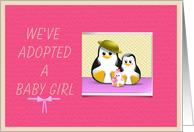 Announcing adopted baby girl penguin family card