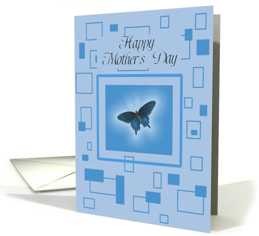 Blue Butterfly, Mid-Century Modern, Mother's Day card (783390)