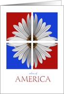 White daisy with red and blue backgrounds~ happy Birthday, July fourth card