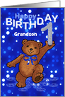 1st Birthday Dancing Teddy Bear for Grandson card