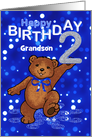 2nd Birthday Dancing Teddy Bear for Grandson card