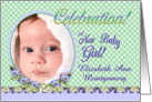 Girl Birth Announcement Photo Card Flower Garden card