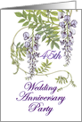 45th Wedding Anniversary Party Invitation, Purple Flowers card