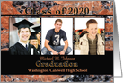 Custom Graduation Announcement 2020 Orange Stone Photo Card