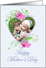 Mother's Day Photo Card Pink Flower Heart card