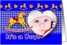 Boy Birth Announcement Photo Card Rocking Horse card