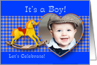 Adoption Baby Shower Invitation, Cute Rocking Horse and Hearts for Boy card