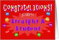 Congratulations Straight A Student - Custom Card