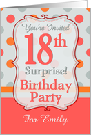Polka-dotted Fun 18th Birthday Surprise Party Invitation, Custom Name card
