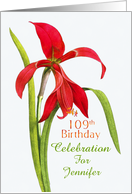 Jubilant Red Lily 109th Birthday Party Invitation, Custom Name card