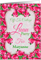 Off To College Luau Party With Hibiscus Flowers and Custom Name card
