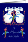 Christmas Snowmen for Hair Stylist card