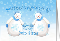 Merry Christmas Snowmen for Twin Sister card